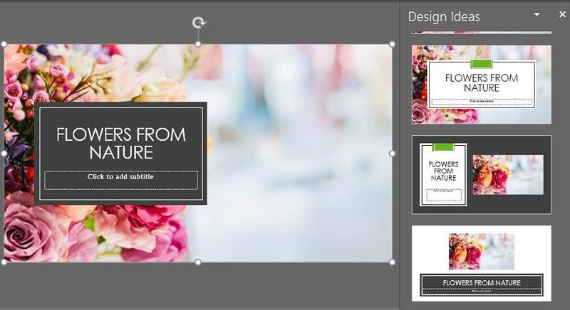 Picture treatments in the Design Ideas Task Pane