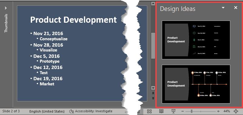 Design Ideas Task Pane