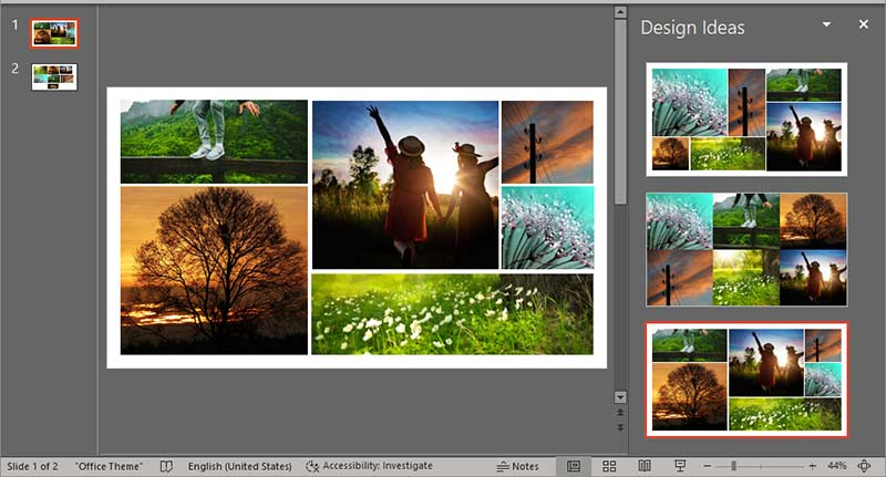 Chosen picture slide layout