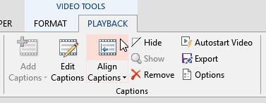 Align Captions button