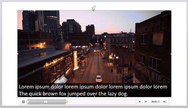 Video with captions in PowerPoint