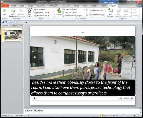 Captions imported into PowerPoint