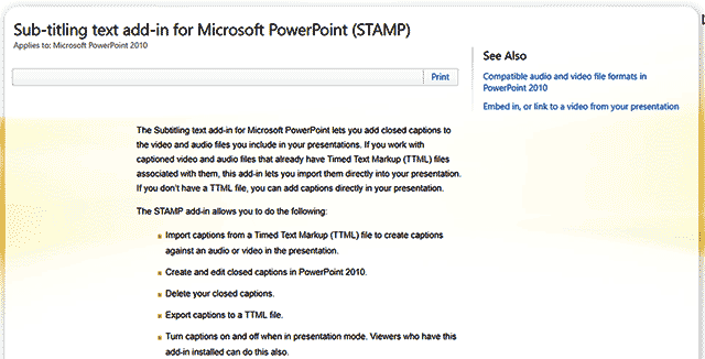 STAMP in Microsoft PowerPoint 2010