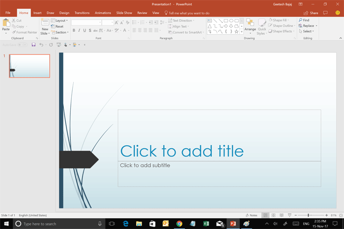 PowerPoint 2016 interface with Mouse mode active