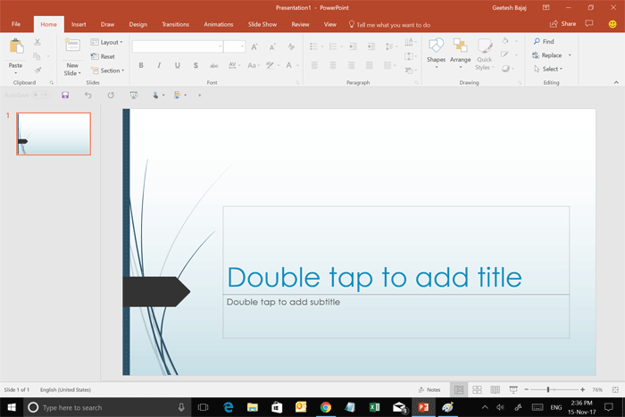 PowerPoint 2016 interface with Touch mode active