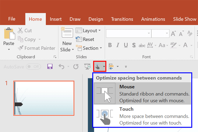 Touch/Mouse Mode button added to the Quick Access toolbar