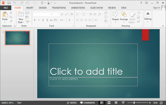 PowerPoint 2013 interface with Mouse mode active