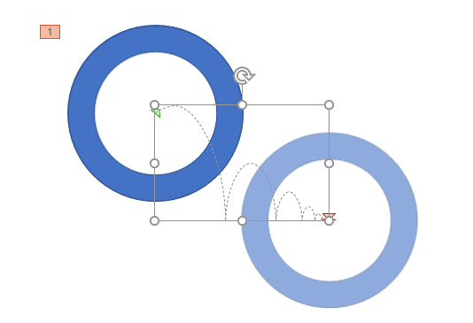 Bounce Right Motion Path applied to the selected shape