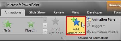 Add Animation button