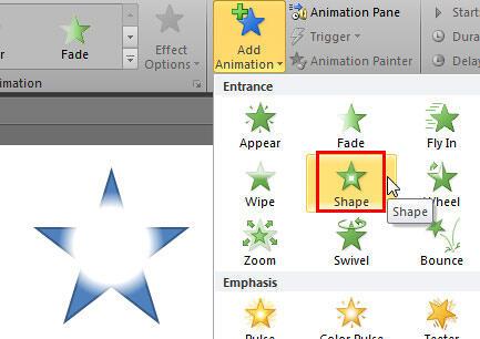 Shape animation effect selected
