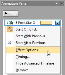 Effect Options selected for the animation