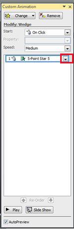 Custom Animation Task pane