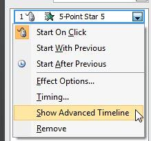 Show Advanced Timeline option selected