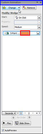 Custom Animation task pane in Advanced Timeline mode