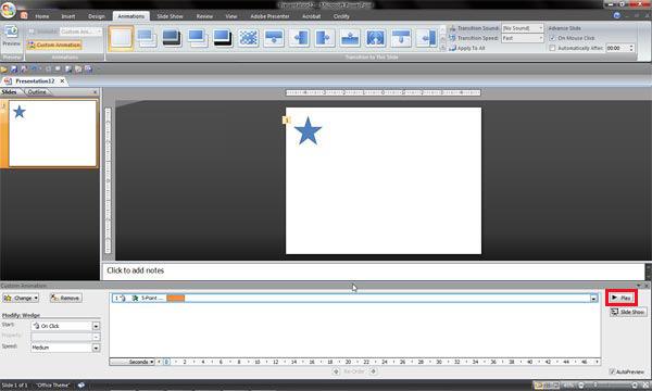 Custom Animation Task Pane moved to the bottom of the slide