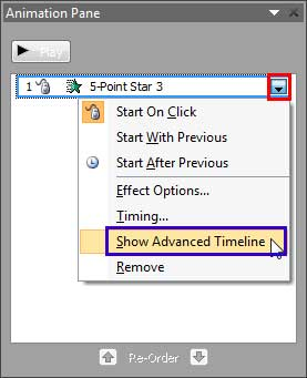 Show Advanced Timeline option to be selected