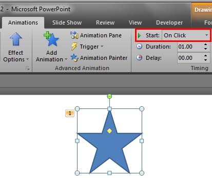 Start box within the Animations tab