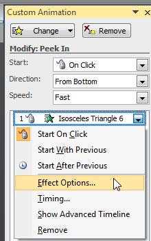 Effect Options selected for the animation in the Custom Animation Task Pane