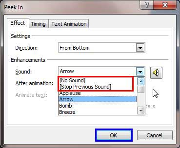 No Sound and Stop Previous Sound options within Sound drop-down menu