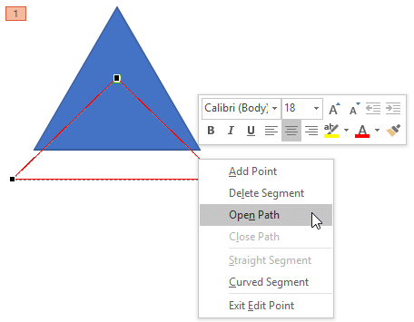 Line segment editing options for a closed Motion Path
