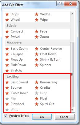 Add Exit Effect dialog box