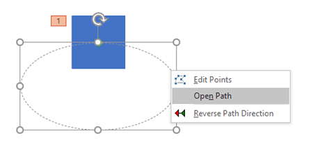 Open Path option to be selected