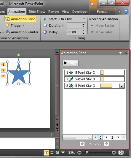 Animation Pane within PowerPoint interface