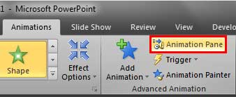 Animation Pane button