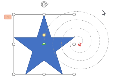Shape with a motion path animation applied