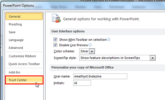 Trust Center option within the PowerPoint Options dialog box