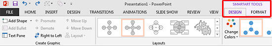 SmartArt Tools Design and Format tabs on the Ribbon