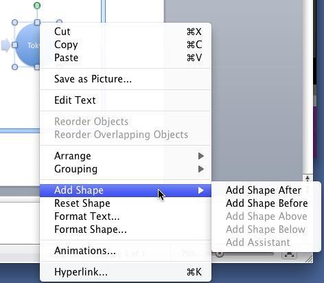 Add Shape sub-menu options to add a new shape to the SmartArt