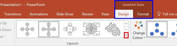 SmartArt Tools Design tab selected