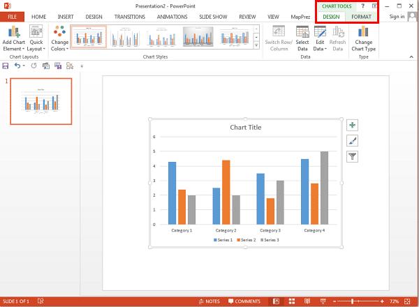 Chart Tools tabs