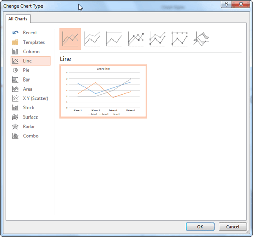 Line Chart selected within the Change Chart Type dialog box