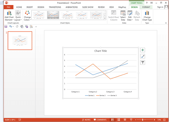 Column chart changed to Line chart