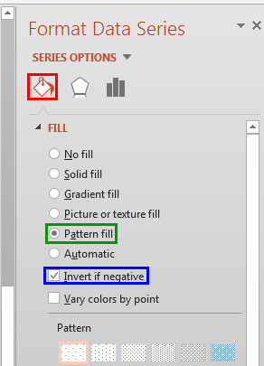Pattern fill radio button selected within the Format Data Series Task Pane