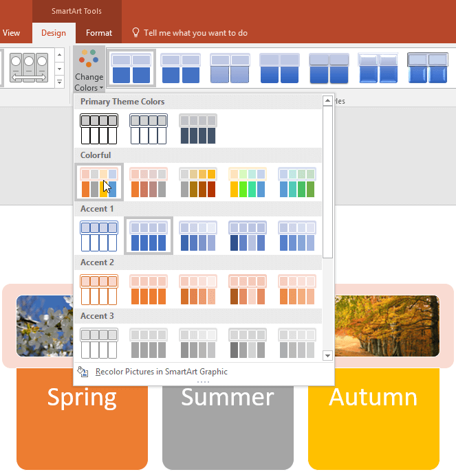 SmartArt graphic showing live preview of the color selected
