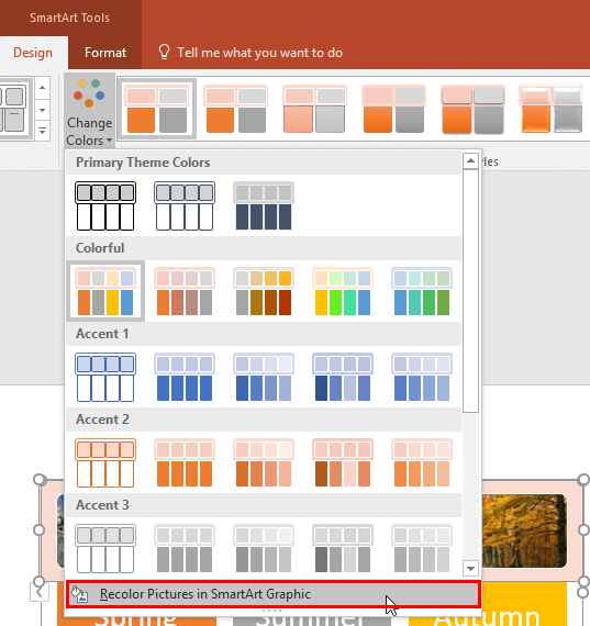 Recolor Pictures in SmartArt Graphic option