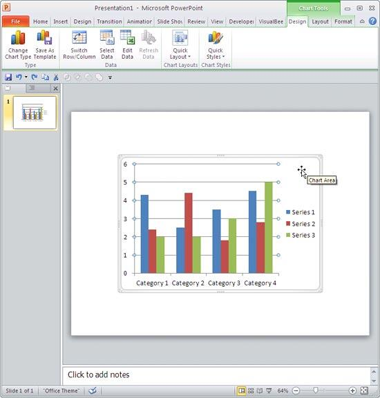 Chart selected in PowerPoint 2010