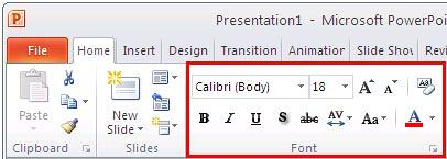 Font group within Home tab of the Ribbon