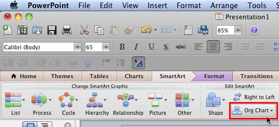 Org Chart button within Edit SmartArt group of SmartArt tab