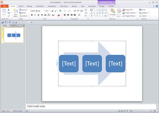 Continuous Block Process SmartArt graphic in PowerPoint
