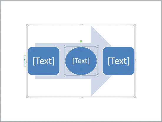 Selected shape within a SmartArt graphic is changed from a rectangle to an oval
