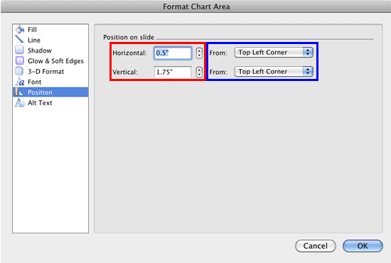 Position options within the Format Chart Area dialog box
