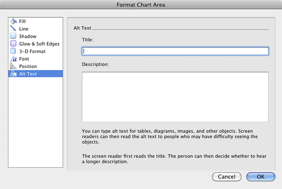 Alt Text option within the Format Chart Area dialog box