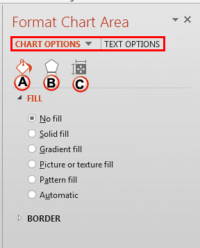 Chart Options within Format Chart Area Task Pane