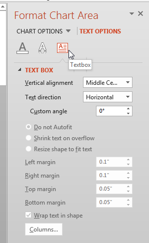 Textbox Options within the Chart Area Task Pane