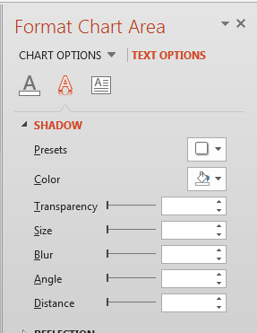 Shadow Effect options for the Chart text
