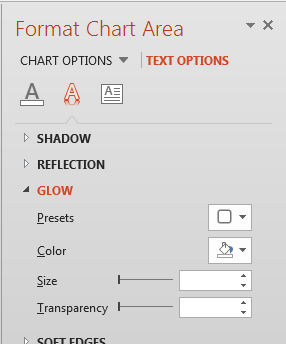 Glow Effect options for the Chart text